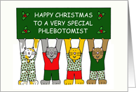 Phlebotomist Happy Christmas, Cartoon Cats. card