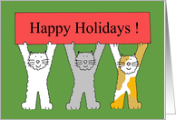 Happy holidays cartoon cats with banner Christmas card