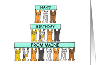 Cats Happy Birthday from Maine. card