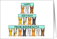 Happy Birthday from Minnesota with cats. card