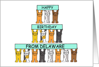 Happy Birthday from Delaware with cartoon cats. card