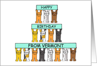 Cats Happy Birthday from Vermont . card