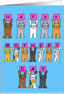 Happy Mother's Day fun cartoon cats. card