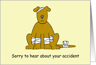 Speedy recovery from accident sweet cartoon dog in bandages. card