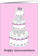 Happy Quinceanera pink and white cake. card
