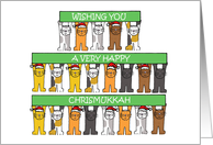Happy Chrismukkah Cats. card