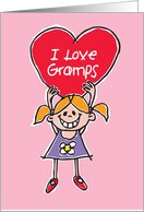 I Love Gramps. Birthday card with small girl holding a big red heart. card