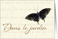 In the Garden, Butterfly Design with french motif card