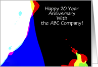 Employee Anniversary, 20 Years of Service, Custom, Abstract card