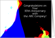 Employee Anniversary, 30 Years of Service, Abstract, Customize card