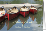 Celebration of Life Invitation Memorial Service Custom Red Canoes card