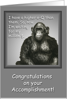 e-Q Monkey Millionaire, Congratulations Accomplishment, Money Enclosed card