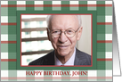 Happy 70th Birthday Apple Plaid Photo Customizable for Him card