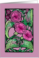 Morning Glories Art Nouveau Blank Note Card