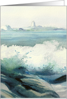 Misty Blue Lighthouse and Crashing Waves Watercolor Birthday Card