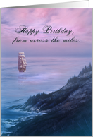 Happy Birthday from Across the Miles, Ship at Sea Card