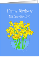 Vase of Daffodils Happy Birthday Sister-in-law card