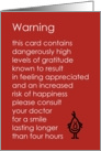 Warning - A funny thank you poem about the side effects of gratitude card
