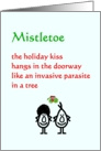 Mistletoe - a funny Christmas poem (for that special someone) card