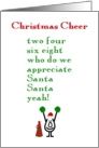 Christmas Cheer - a funny Christmas poem card