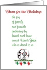 Home for the Holidays - a funny Christmas poem card