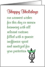 Happy Holidays - a funny season's greetings poem card