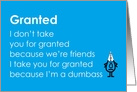Granted - A funny poem to say you're sorry card