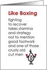 Like Boxing – A Funny Recovery From Knee Surgery Poem card