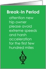 Break-In Period - A Funny Recovery From Hip Replacement Poem card