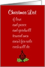 Christmas List - A Funny Merry Christmas Poem card