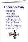 Appendectomy - A Funny Recovery From Surgery Poem card