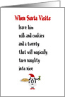 When Santa Visits, A Funny Merry Christmas Poem card