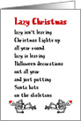 Lazy Christmas, A Funny Merry Christmas Poem card