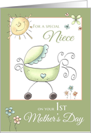 1st Mother's Day - Special Niece- Baby Carriage card