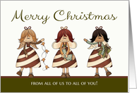 Christmas, from all of us - Candy Cane Angels card