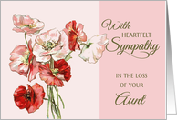 Loss of Aunt - Heartfelt Sympathy pink vintage flowers card