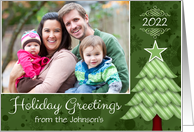 Holiday Greetings Tree Custom Photo / Name / Date card