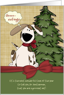 Customizable Vet's Name Christmas Greetings Doggy w/ bow card