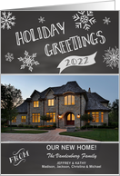Chalkboard 2016 Holiday Greetings New Home custom photo & name card