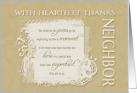 With Heartfelt Thanks to Neighbor neutral colors card