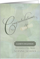 Congratulations Nursing School Graduate Custom Name card