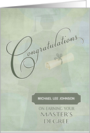Congratulations Masters Degree Custom Name card