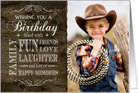 Rustic Wood Birthday Photo filled with Fun, Friends, Family Love etc. card
