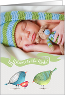 Baby Welcome to the World little birdies photo card