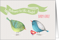 Baby Girl Welcome to the World little birdies card