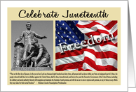 Celebrate Juneteenth - Emancipation Statue, American Flag card