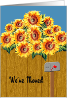 Sunflower We've Moved Announcement - Sunflowers & Mailbox card