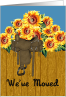 Sunflower We've Moved Announcement - Sunflowers & Saddle card