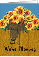 Sunflower Moving Announcement - Sunlowers & Saddle card