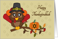 Happy Thanksgivukkah - Owl Turkey & Star of David card